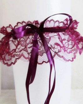 Delicate Lace Garter Band With Long Satin Ribbon Bow