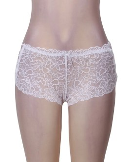 White Floral Lace High Waist Sexy Panty With Side Lacing