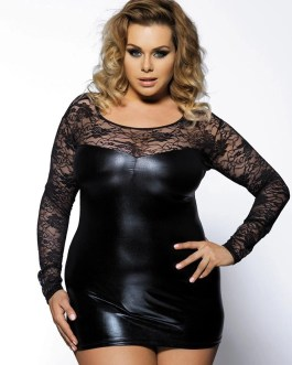 Plus Size Faux Leather Black Long Sleeve Mini Dress