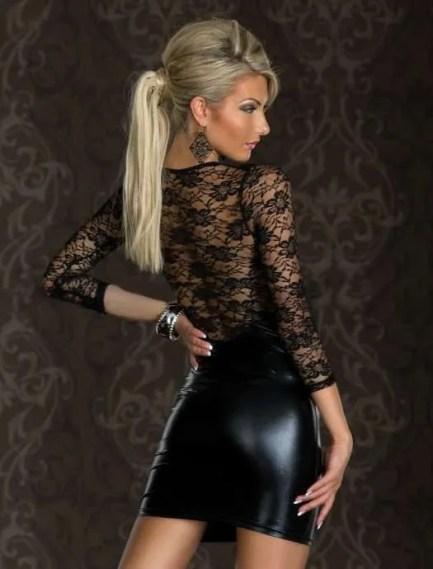 Plus Size Black Leather Short Lingerie Dress