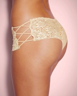 Nude Floral Lace High Waist Sexy Panty With Side Lacing