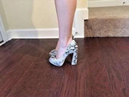 Gianni Bini Daniella Women Leather Platform Open Toe High Heel - Snake Pattern