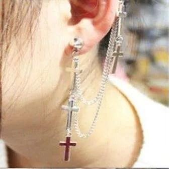 Cross Tassel Chains Ear Cuff Earring