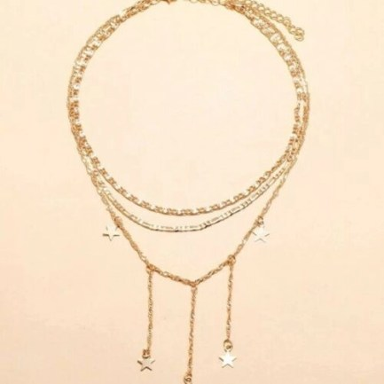 Goldtone 3 Chain Dangling Stars Necklace