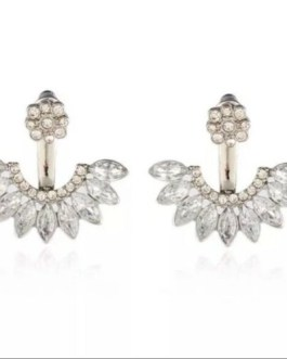 White Rhinestone Over/Under Sparkle Fan Earrings