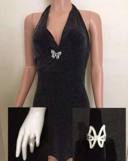 Butterfly Mini Dress & Silvertone Ring