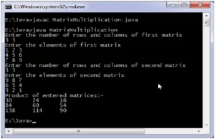 write a java program to perform multiplication of two matrices