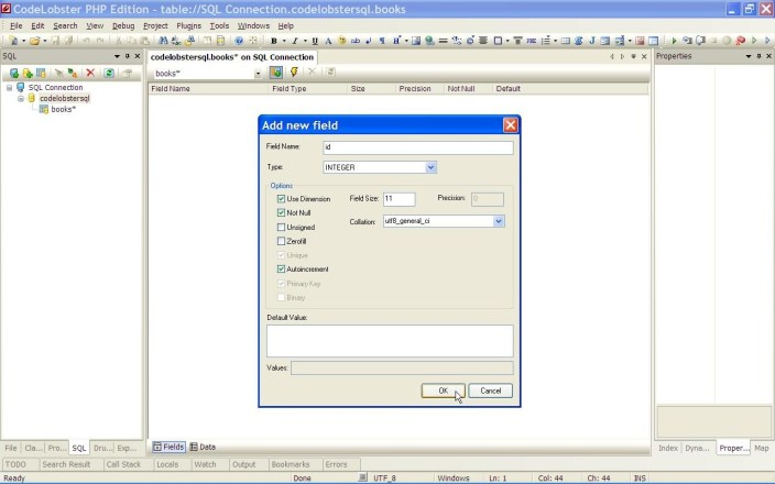 CodeLobster table editor