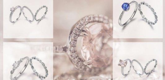 Engagement ring with diamond wedding band