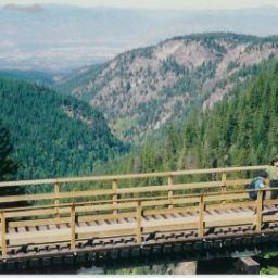 View from Trestle #18. Looking down towards Kelowna from Trestle #18. Lake Okanagan can be seen in the background.