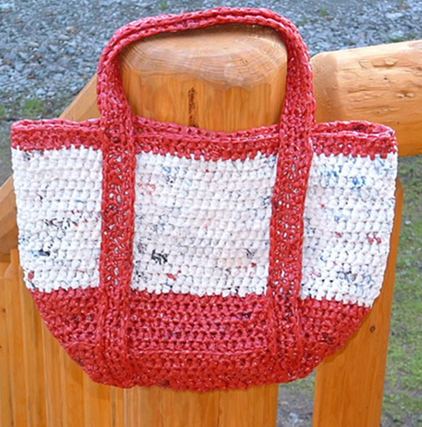 #Plarn Satchel Style Tote Bag by myrecycledbags.com #earthday #upcycle