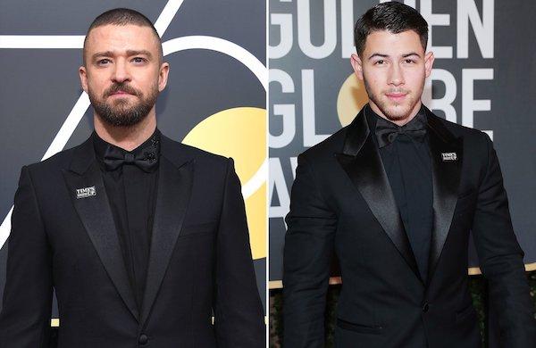 Justin Timberlake and Nick Jonas wear the Time's Up pin.Kevork Djansezian:NBC:NBCU Photo Bank:Getty; Neilson Barnard:NBCUniversal:NBCU Photo Bank:Getty