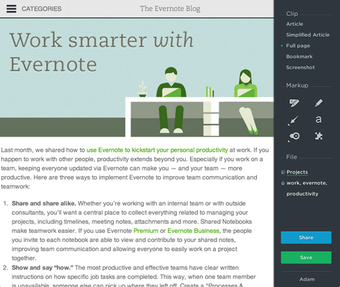 Using Evernote