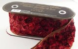 "Luxurious Rosebud Wired Edge Designer Ribbon, 4"" Wide, 8 Yards, Red"