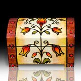 Romantic Trunk Tulip Flower Wood Polish Jewelry Keepsake Chest