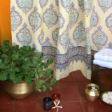 Morning Dew ~ Blue Yellow French Fair Trade Bath Shower Curtain 72x72