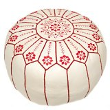 Casablanca Market Embroidered Starburst Stitched Cotton Stuffed Leather Pouf, Red on White