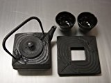 Square Cast Iron Tea Set Dragonfly Black #ts6-06bk