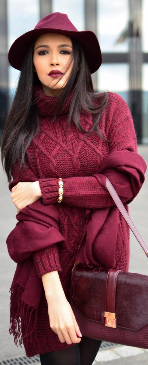 """""""Creamy Wine hue"""" warms up autumn sweaters and slacks outfit. I prefer it to the 2016 """"Rose Quartz"""""""