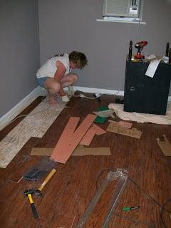finishing up the laminate floor installation