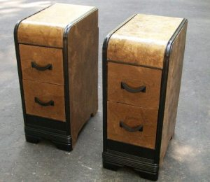 Brown Paper Decoupaged Nightstands