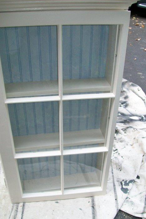 blue bead board for window cabinet
