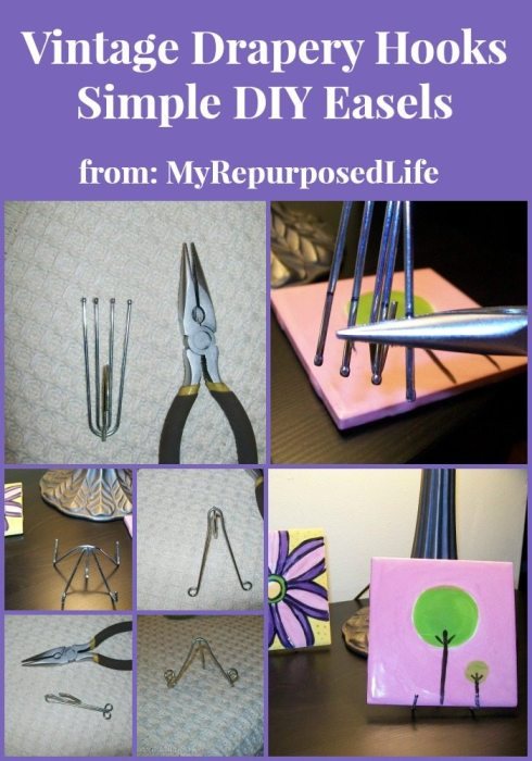 simple small easels made with drapery hooks