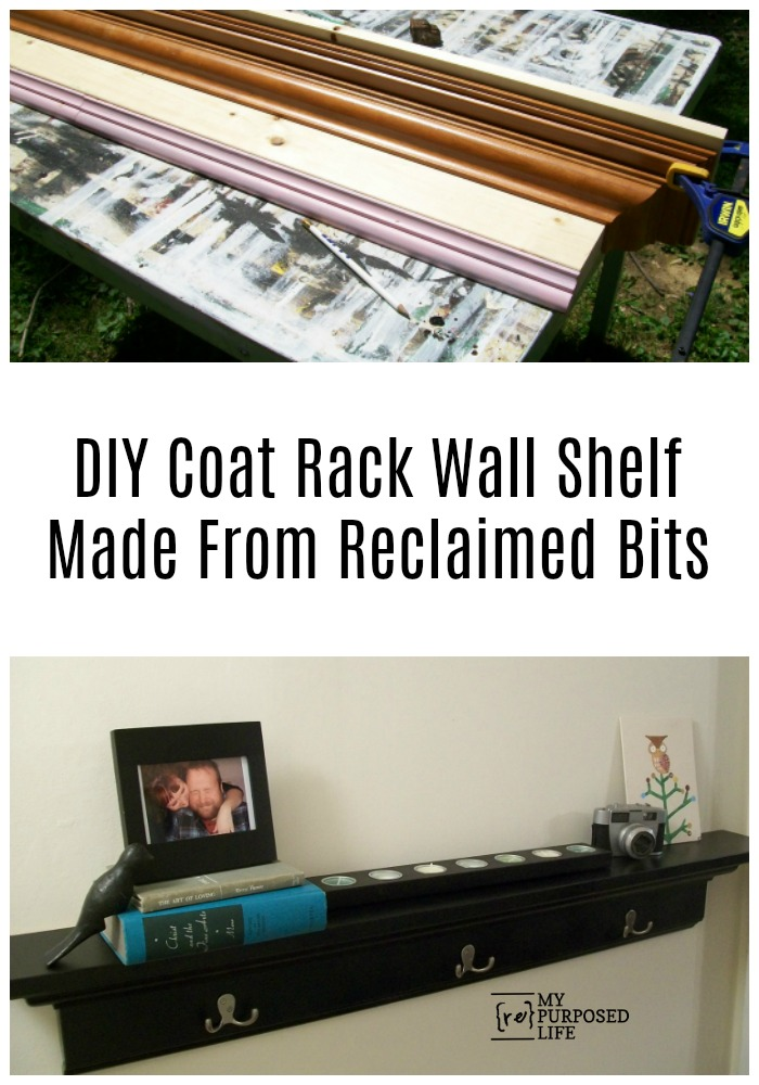 How to make a pottery barn inspired coat rack wall shelf. A DIY customized project makes a great gift idea. Using reclaimed trim keeps costs down. #MyRepurposedLife #repurposed #reclaimed #wood #coatrack #wallshelf #diy via @repurposedlife
