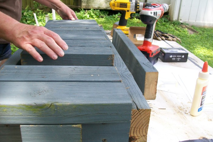 add 2x4 slats to easy reclaimed lumber bench