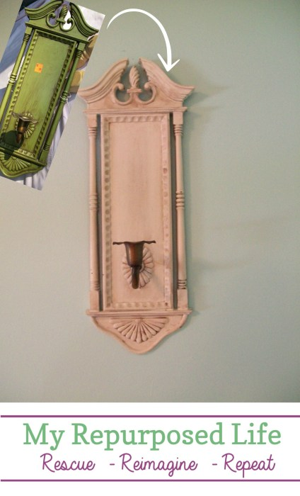 updated vintage sconces with paint and glaze MyRepurposedLife #easy #plastic #sconce #update #paint #glaze