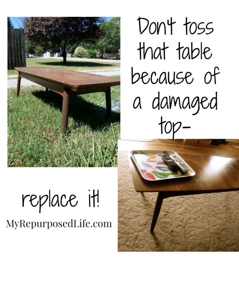 vintage coffee table makeover - new table top