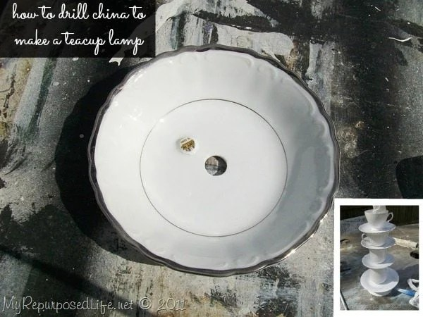 how to drill china diy teacup lamp