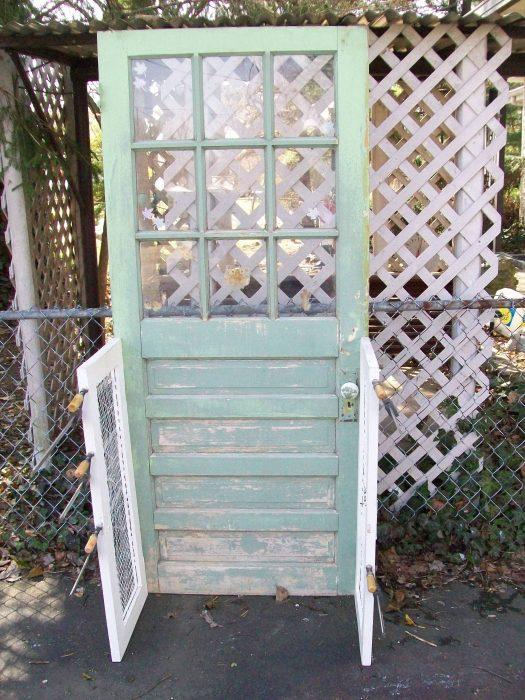 repurposed door bookshelf