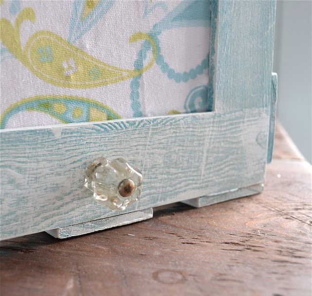 blue picture frame crate