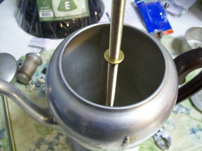 thread nut onto lamp kit rod vintage coffee pot lamp