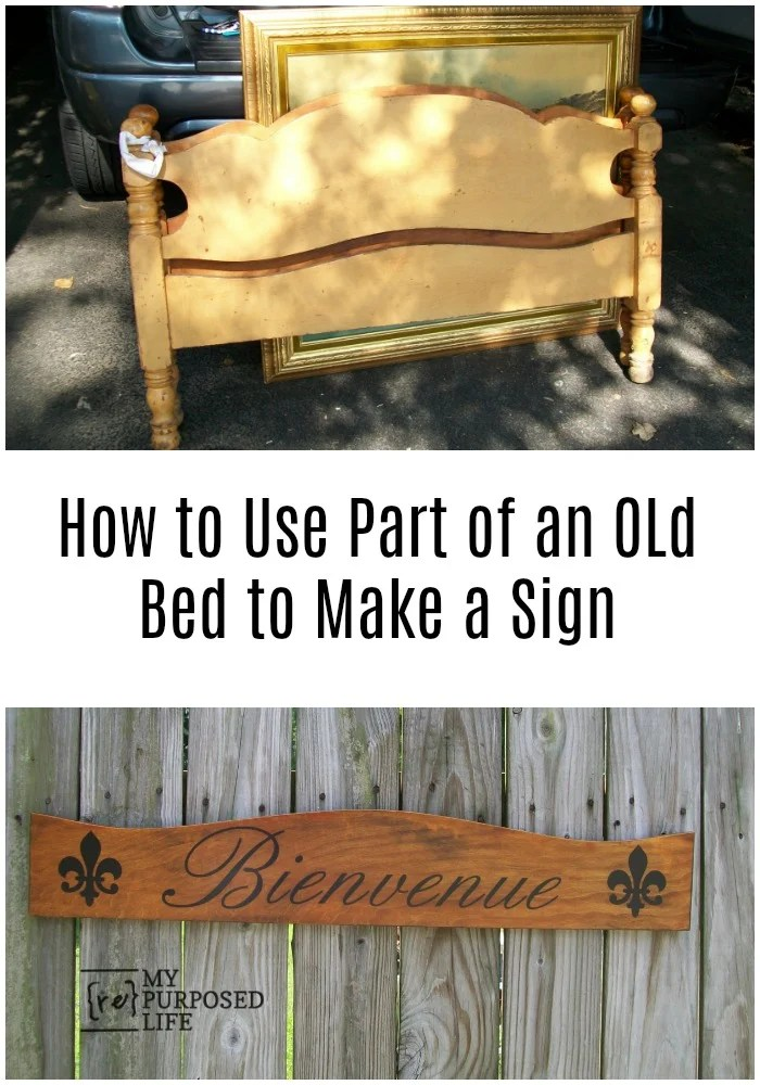 Great tutorial on how to make a repurposed headboard sign using a stencil and spray paint. Tips on painting and stenciling a large DIY sign. #MyRepurposedLife #repurposed #headboard #sign #bienvenue #diy via @repurposedlife