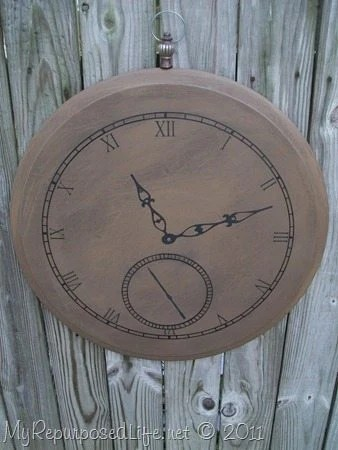 Faux Pocket Watch (wall art) This faux pocket watch was made out of an old table top.It's really large at about 24 inches in diameter. Make your own watch using a special date as the time! #MyRepurposedLife #faux #pocketwatch #wallart #diy #project via @repurposedlife