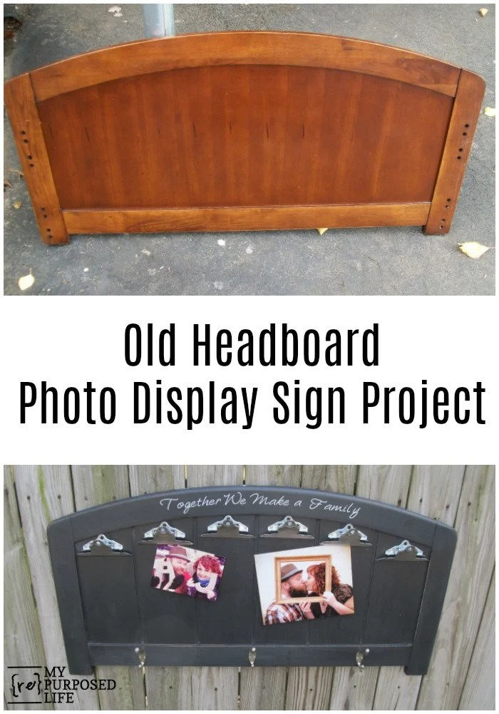 Here's a great repurposed headboard ideas -- a photo display sign. Using an old headboard, I added some clips to display photos. Easy project. #MyRepurposedLife #repurposed #headboard #photo #display #sign #easy #diy via @repurposedlife