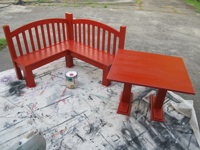 paint kids corner table bench red