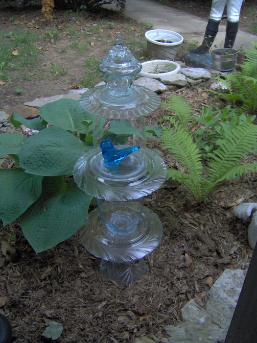 bluebird of happiness glass garden totem