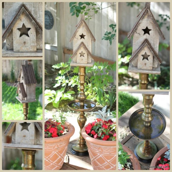 DIY Birdbath Birdhouse from hookah pipe