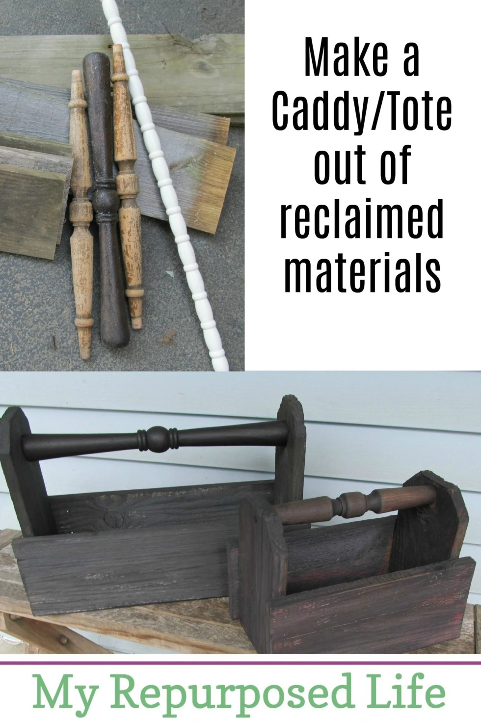 How to make a diy wooden caddy using reclaimed materials such as fencing and chair parts. Step by step tutorial so you can make one of these today! #MyRepurposedLife #relcaimed #fence #spindles #wooden #caddy via @repurposedlife