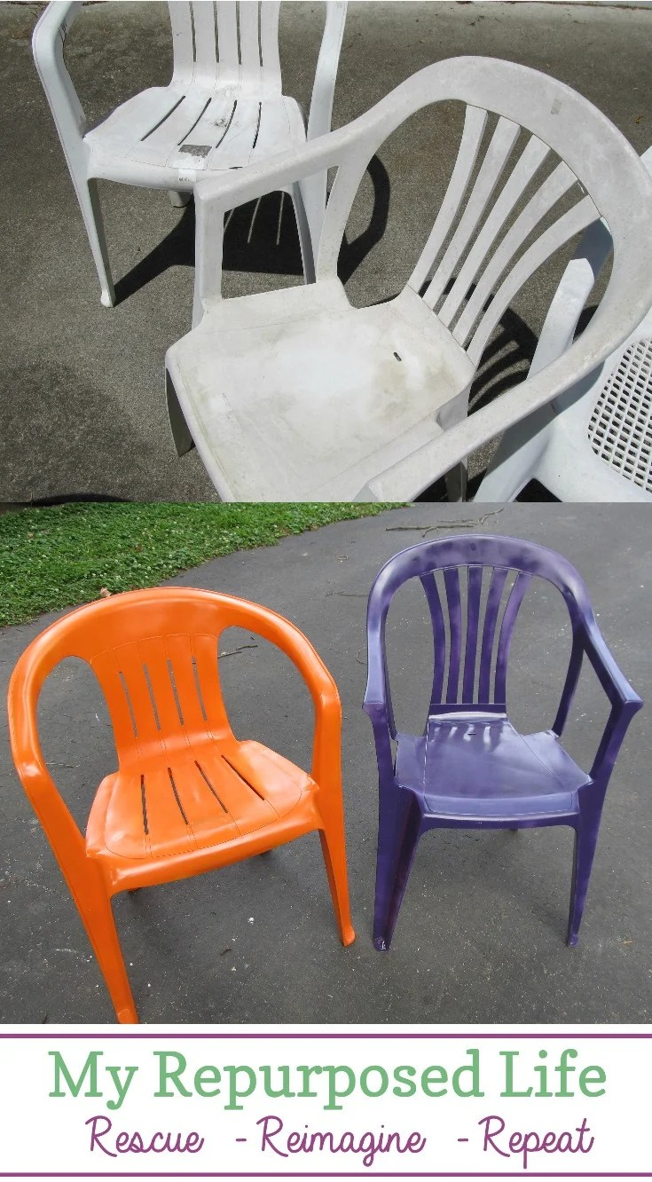 How to spray paint plastic chairs. You know those old white chairs you have? They are pitted and ugly? Easy fix with some colorful spray paint! Refresh wrought iron metal furniture with spray paint too! #MyRepurposedLife #spraypaint #lawnfurniture #plastic #outdoor #furniture via @repurposedlife