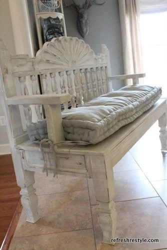 headboard bench made from an end table