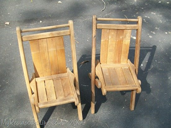 vintage folding kids chairs