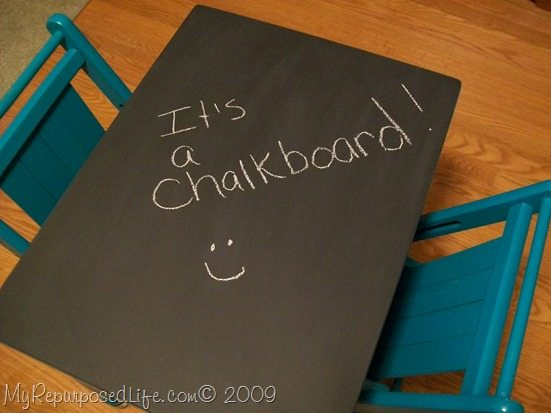 repurposed side table into a chalkboard table and chairs for kids