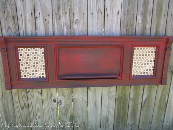 red piano front with sheet metal