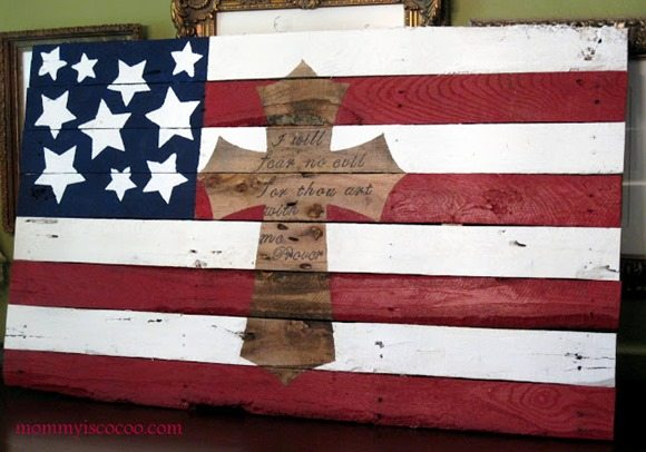 american flag with cross