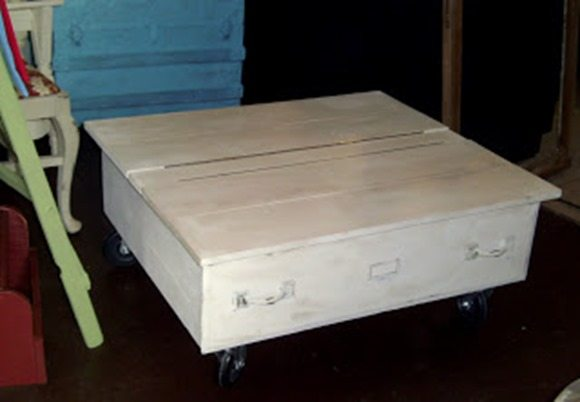 large drawer repurposed as a rolling table