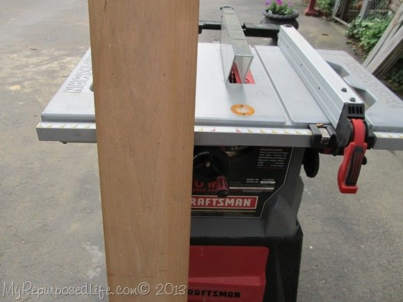 using the table saw to rip the boards